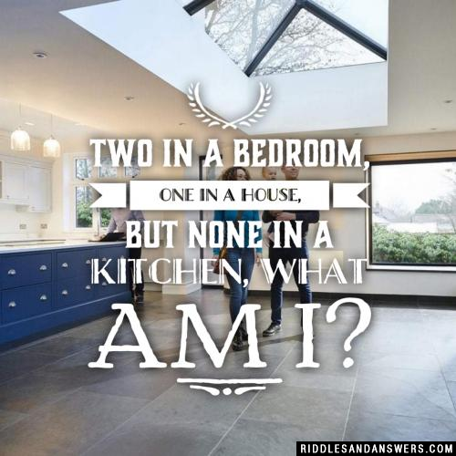 Two in a bedroom, one in a house, but none in a kitchen, what am I?