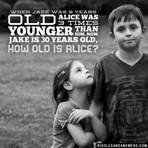 When Jake was 9 years old, Alice was 3 times younger than him. Now Jake is 30 years old, how old is Alice?
